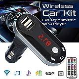 TianranRT Drahtlos FM Sender MP3 Player Freisprecheinrichtung Auto Kit USB TF SD Fernbedienung (Silber)
