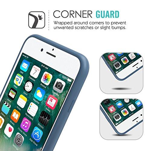 MoKo Coque iPhone 7 Plus en Silicone flexible de la haute qualité ultra mince, anti-choc et anti-rayures, Protection de la caméra, Rouge Bleu atlantique