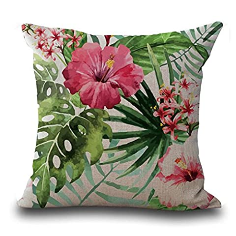 HLHN Cotton Linen Vintage Flower Tropical Leaves Pillow Case Pillowslip Waist Throw Cushion Cover for Sofa Home Bedroom Office Coffee Shop Car Decor