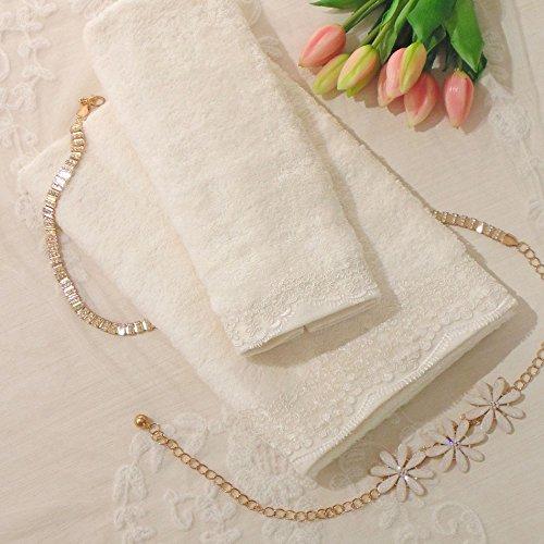 AT17 Handtuch Set, Handtuch mit Spitze, Handtuch und Gästetuch Landhaus Shabby Chic - Rebrode Spitze - 54x100 + 38x60 - Elfenbein - 100% Baumwolle