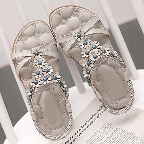 Grau und Rosa Damenschuhe New Style Flat Heel Slingback Sandalen Büro & Karriere / Kleid / Casual Grau