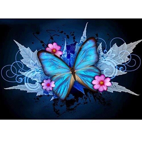 mxjsua 5D Diamant Malerei Kit FULL Bohrer DIY Strass Stickerei Kreuzstich Arts Craft für Home Wand-Decor Ahorn verlassen, Schmetterling 30,5x 40,6cm -