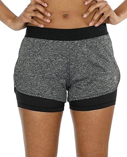 icyzone Damen Sportshort Funktions-Sport Hot Pants Fitness Yoga Kurze Hosen Sporthose Trainingshose Jogginhose 2 in 1 (Charcoal,L)