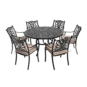 Leisuregrow devon 135cm round dining set with cushions for Metal garden table and chairs