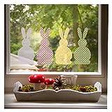Fensterbild Osterhasen Set, beliebte Oster-Deko für das Fenster im Kinderzimmer, in 2 Größen erhältlich, Größe 40 x 20 cm