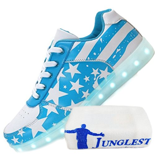 [Présents:petite serviette]JUNGLEST - 7 Couleur Mode Unisexe Homme Femme USB Charge Lumière Lumineux Chaussures de marche LED Ch Azure 1