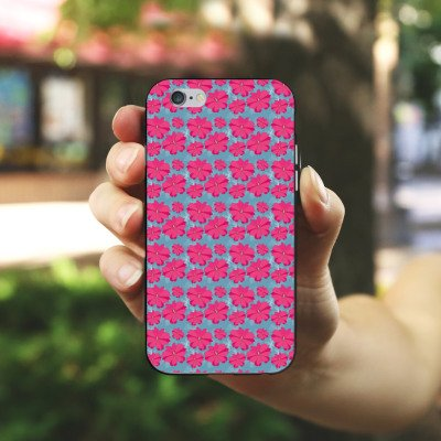 Apple iPhone 6 Housse Étui Silicone Coque Protection Fleurs Fleurs Rose vif Housse en silicone noir / blanc