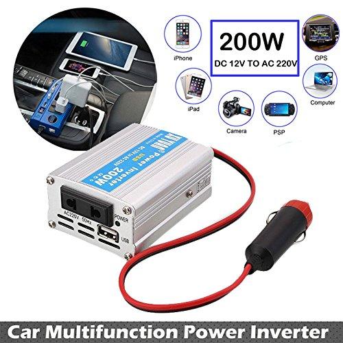 Sedeta Inversor de energía para automóvil de 200 vatios Convertidor USB DC 12V a CA 220V con adaptador de enchufe compacto para la computadora del teléfono Proteger la sobrecarga compacto