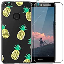 Huawei P10Lite Funda con Protector de pantalla de cristal templado, blossom01Ultra Thin Soft Gel TPU Silicona Funda con carcasa para Huawei P10Lite multicolor piña Huawei P10 Lite