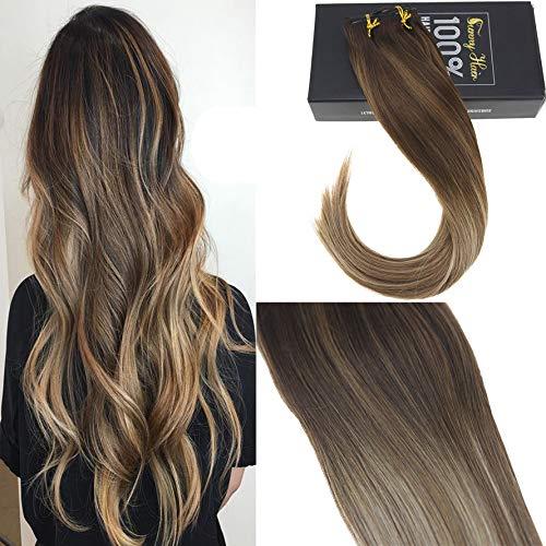 Sunny 14 pollice extension clip capelli capelli umani balayage marrone con biondi dip dyed remy estensioni capelli veri con clip 7pcs/120g