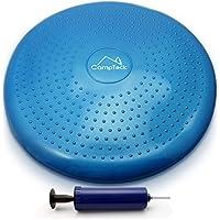 CampTeck U6765 Cojin Equilibrio Disco Vestibular Inflable con Bomba Mejorado de Mano para el Entrenamiento del Balance, Agilidad, Gimnasio, Yoga, Sentada Cómoda etc - Azul, 32cm