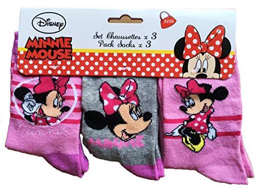 Disney Minnie Maus Kinder Socken, Strümpfe, rosa, grau (3er Pack) (31-34)
