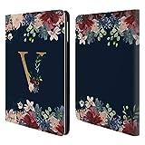 Head Case Designs Offizielle Nature Magick V Blumiger Monogramm Gold Navy 2 Brieftasche Handyhülle aus Leder für iPad Air (2013)