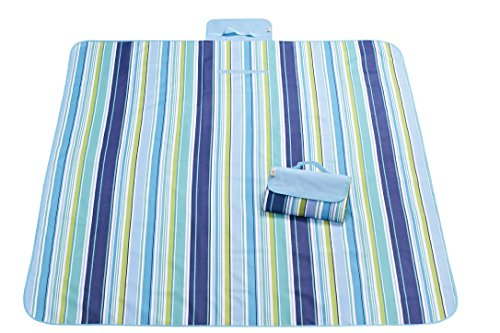 zanasta XXL Picknickdecke 200 x 145 cm Stranddecke/Outdoor Decke Wasserdicht (Nylon), Groß mit Tragegriff Streifen Blau-Grün-Schwarz-Weiß