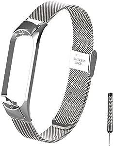 WANFEI per Mi Band 5 Cinturino in Acciaio Inossidabile Braccialetto di Ricambio per Xiaomi Mi Band 5 Smart Miband 5 Braccialetto (Metallo Argento,Activity Tracker Non Incluso)