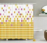 Abakuhaus Duschvorhang, Geometrisches Mosaik Muster Quadrate in Gelb Rosa Lila und Orange Tonen als Digital Druck, Blickdicht aus Stoff inkl. 12 Ringen Umweltfreundlich Waschbar, 175 X 200 cm