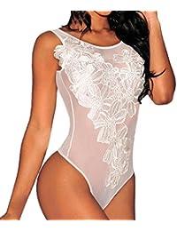 LUCKES lenceria sexy mujer, Ropa interior Ropa de dormir Camisón Bodysuit, O Neck Clubwear