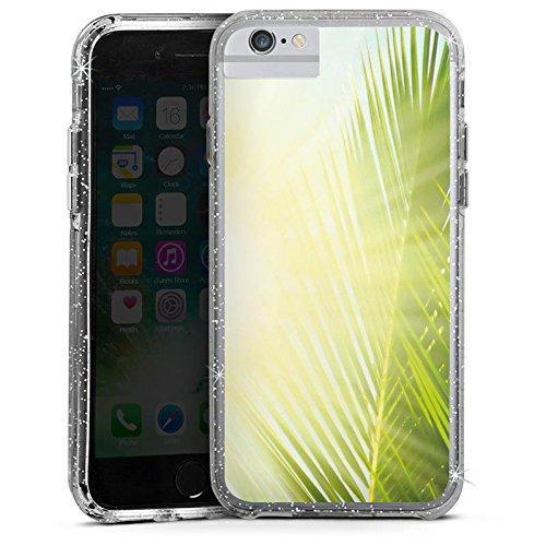 Apple iPhone 6 Bumper Hülle Bumper Case Glitzer Hülle Palme Sonne Sun Bumper Case Glitzer silber