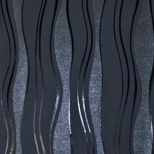 13191-20 13191-30) 1 Rolle hochwertige Vlies Tapete coole Retro-Welle mit silber, Farben:Schwarz