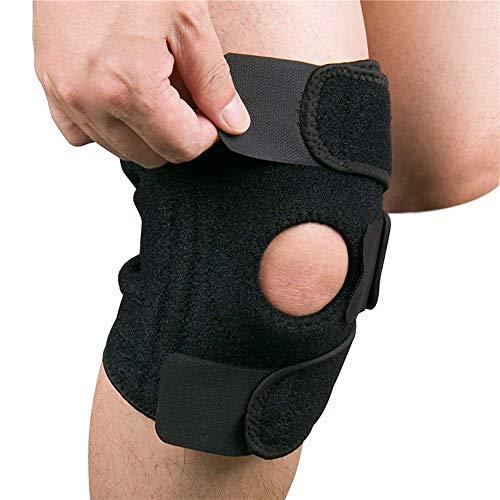 Hually Kniebandage, Knieschützer mit Klettverschluss und Patellaöffnung - Knieschoner für Sport und Alltag - Kniestütze für Damen und Herren (schwarz)