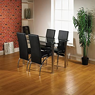 Glass Dining Table and 4 Chairs set, Table size 120 or 80 cm with faux leather thick foam padded Chairs with Chrome Frame Available in Black and Red.