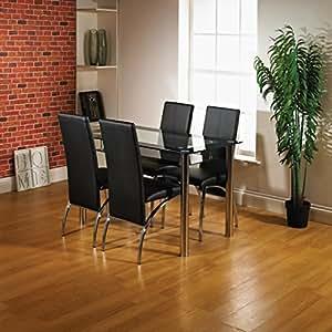 Kingston salle manger 4 places avec table en verre et 4 for Salle a manger 4 places