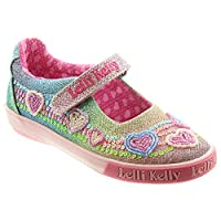 Lelli Kelly Rainbow Heart Dolly Girls Canvas Shoes 9/27 Std Unless Stated in Colour Multi Glitter