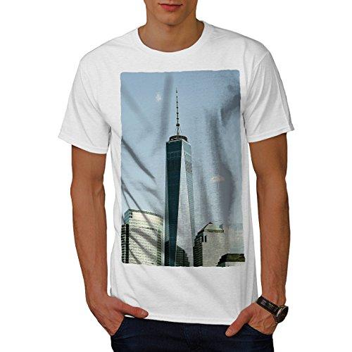 wellcoda Freiheit Turm NYC Männer T-Shirt, Glas Grafikdesign gedruckt Tee