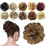 Feshfen Haargummi-Haarteil, für Haarknoten/Pferdeschwanz, Haarverlängerung, gewellt, unordentlicher Haarknoten, Dutt, Hochfrisur, Haarteil, tiefschwarz