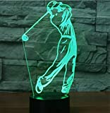3D Nuit Jouer au golf LED Lampes Art Déco Lampe la couleur changeant lumières LED, Décoration Décoration Maison Enfants Meilleur cadeau, Lumière Touch Control 7 couleurs Change