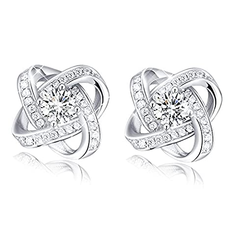 FANSING Jewellery 925 Sterling Silver White Clover Solitaire Crystal Glittering Stud Earrings for New Mothers Gifts 0.4
