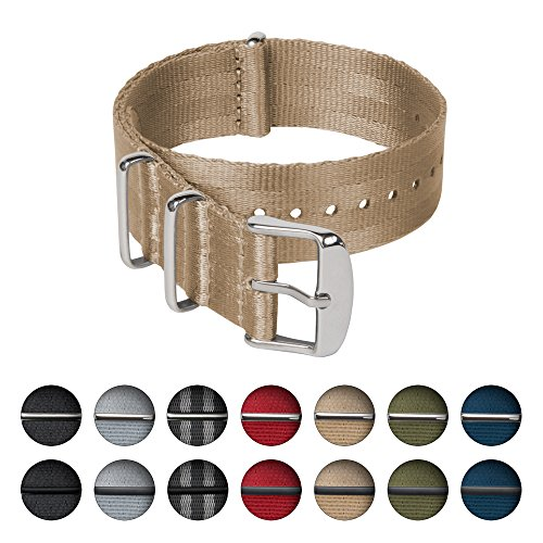 Uhrenarmband von Archer Watch Straps   Sicherheitsgurt Stil gewebtes Nylon Erstklassische Qualität NATO Armbänder   Militär Stil Uhrenarmband   Khaki/Edelstahl Hardware, 18mm (Khaki Nylon Strap)