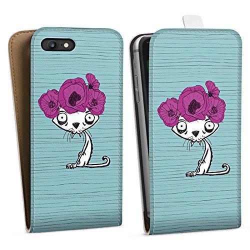 Apple iPhone X Silikon Hülle Case Schutzhülle Ugly Fashion Cat Katze Blumen Downflip Tasche weiß