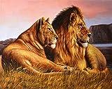 BZDHWWH Murales De Papier Peint Chambre Enfants HD Fond D'Écran HD Lion De Prairie D'Afrique Peinture Décorative Papel Tapiz,170cm (H) x 255cm (W)...