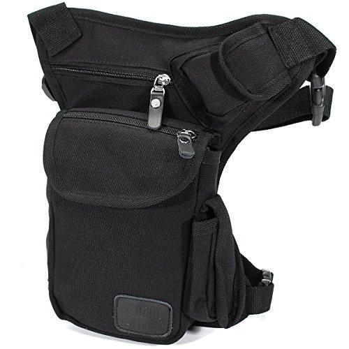 Borsello da Gamba, ELEGIANT Marsupio di Tele Borsa da Gamba Drop Leg Bag Leg Bags Attaco alla Cintura per Viaggio, Sport, Bicicletta, Militare, Trekking Nero Nero