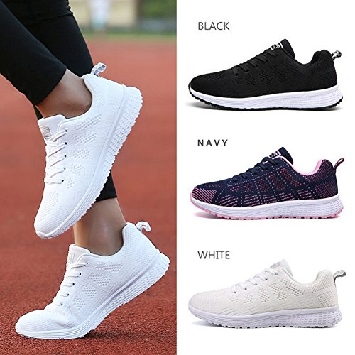 Women's Lightweight Sport Tennis Walking Shoes Breathable Athletic Running Sneakers White 4 UK