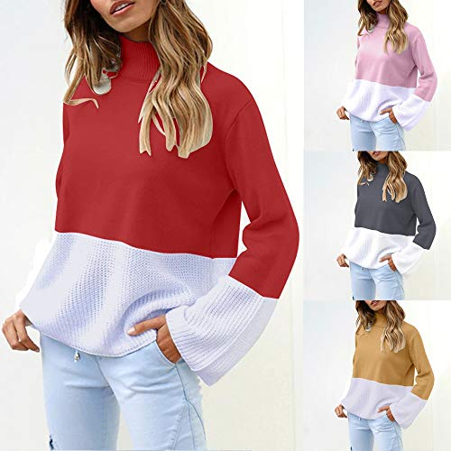 DIKEWANG Women's Boxy Long Sleeve Sweatshirt Boyfriend Ladies Baggy Long Sleeve Knitted Plain Patchwork Chunky Top Sweater Jumper Cardigan T-Shirt Tops Loose Sweater