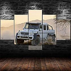 GIRDSS Kunstdrucke Leinwanddrucke Kreatives Geschenk 5 Stück Leinwand Bilder Moderne Wandbilder XXL Wohnzimmer Wohnkultur Gerahmtes *Mercedes-Benz G63 Amg 6X6 Wagon G-Klasse
