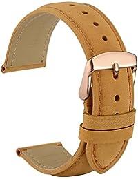 wocci reloj bandas reemplazar marrón correa reloj de piel Vintage con Hebilla de oro rosa pines de metal para hombres mujeres