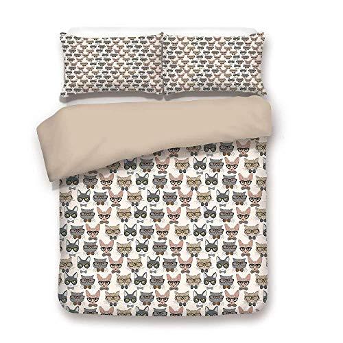 LnimioAOX Satz von Bettbezug, Khaki zurück, Katze, Hipster Nerd Zeichen mit Vintage Sonnenbrille, intelligente intelligente katzenartige Ausdrücke, Multicolor, dekorativ, Bett gesetzt