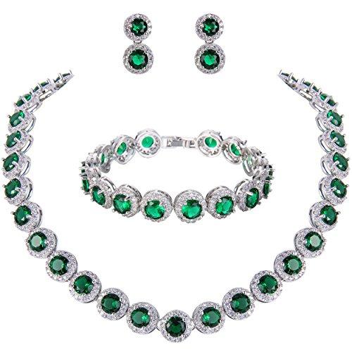 Ever Faith Damen rund Cut Cubic Zirconia Tennis Halskette Armband Ohrringe Set Grün Silber-Ton