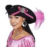 Chapeau de femme pirate, tricorne avec plumes et rubans, accessoire de costume pour dame - Noir, rose