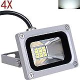 Himanjie 4 Stück 12V Kaltweiß 10W LED Außenstrahler wasserdicht IP65 Aluminium Strahler Flutlicht Wandstrahler