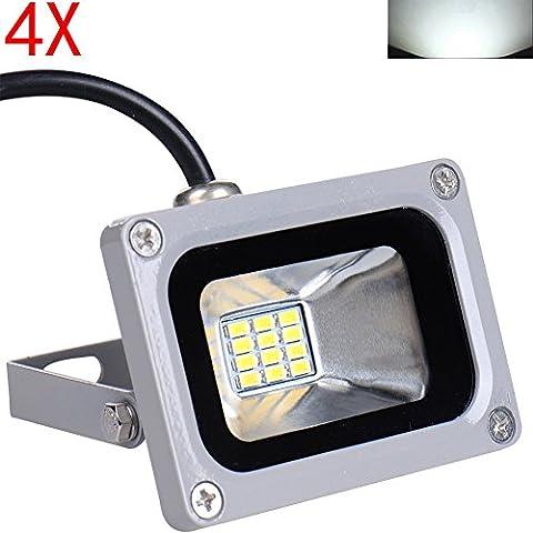 Himanjie® 4 Stück 12V Kaltweiß 10W LED Außenstrahler wasserdicht IP65