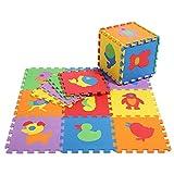 Povkeever Indoor-Tier-Schaum-Spiel-Matten, 10 Stück schützende Bodenbelag-Matten Stellende Boden-Matte Baby-Raum-Jigsaw-Spiel-Matte für Turnhalle, Spielbereich, Übung, Yoga - Farbe zufällig
