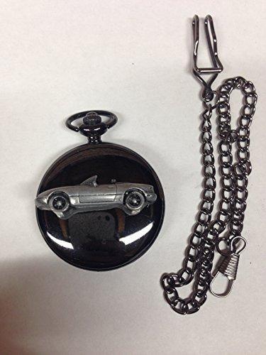 Mazda MX 5(Miata) LHD ref122Zinn Effekt Auto Emblem poliert schwarz Fall Herren Geschenk Quarz Taschenuhr hergestellt in Sheffield