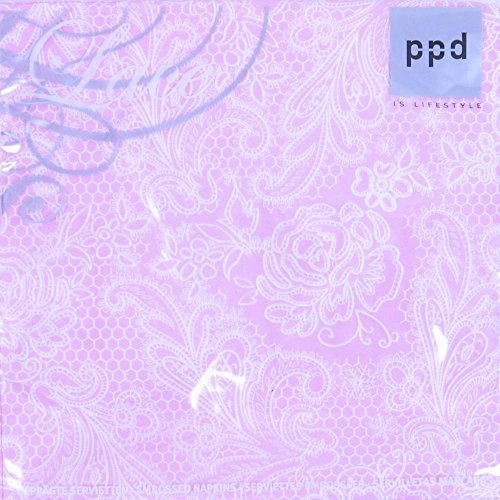 Servietten Lace Royal embossed pastel pink white 33 x 33 cm ppd 007880 -