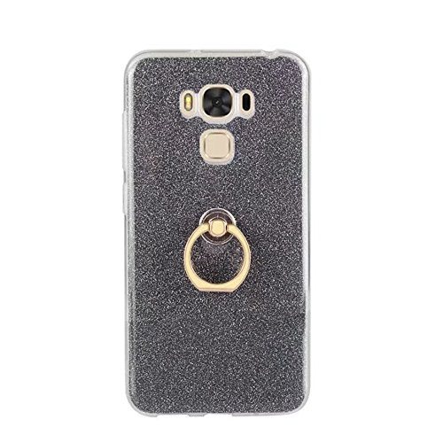 EKINHUI Case Cover Soft Flexible TPU Back Cover Case Shockproof Schutzhülle mit Bling Glitter Sparkles und Kickstand für Asus ZC553KL ZenFone 3 MAX ( Color : Blue ) Black