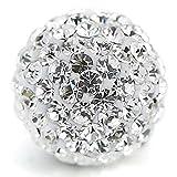 10mm Disco Kugeln Perlen aus Ton Tschechische Kristall Shamballa Pavé Premium Qualität, White Clear Crystal, 20PCS
