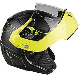 Lazer MLE041020FD0S Monaco Evo Droid Pure Carbon Casco Moto Modular, Negro Carbon Matt/Amarillo Fluo, Talla S